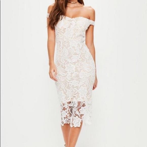 1c2cb0333f8 White Lace Bardot Midi Dress Missguided